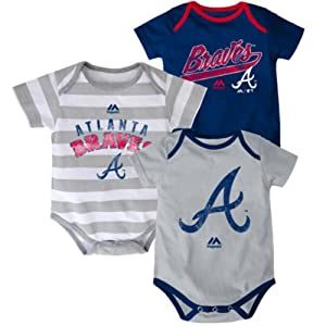 Atlanta Braves Baby Infant Triple Play 3 Piece Creeper Set by Majestic