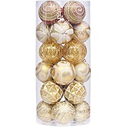 "Sea Team 60mm/2.36"" Decorative Shatterproof Painting & Glitering Designs Christmas Ornaments Christmas Balls Set with Embossed Finish Surface, 24-Pack, Gold"