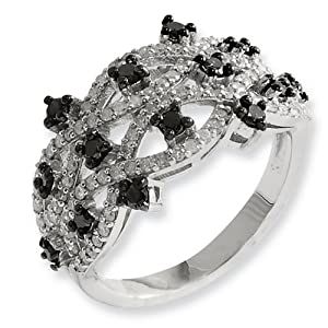 IceCarats Designer Jewelry Size 6 Sterling Silver Black White Diamond Ring