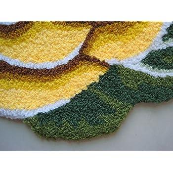 YOUSA Yellow Rose Shaped Rug Anti-slip Mat Handmde Rug 31.523.6