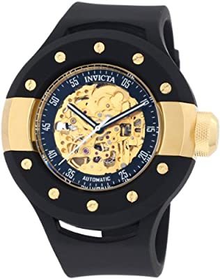 Invicta Men's 0868 S1 Automatic Gold Tone Skeleton Dial Black Polyurethane Watch