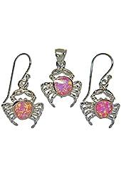 925 Sterling Silver Pink Opal Crab Dangle Earrings Pendant Set