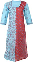 ALMAS Lucknow Chikan Women's Cotton Regular Fit Kurti (Blue and Red)