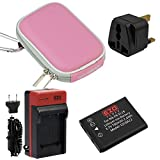 EZOPower EN-EL19 Battery + Charger Kit + Pink Compact Eva Case for Nikon COOLPIX S6800 S5300 S3600 S5200 S6500 S4200 S6400 S3300 S4300 S3100 S4100 Digital Camera