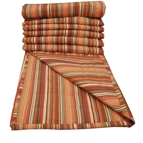 "Cotton Bedspread Handmade Quilt Twin Size Multicolor Striped Gudri Home Décor 91"" X 60"" front-986233"