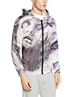 Mr. Gugu & Miss Go Sudadera con Cierre Unisex Burst Of Art (Gris / Blanco)