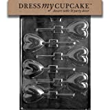 Dress My Cupcake DMCV026 Chocolate Candy Mold Heart Lollipop Valentine's Day