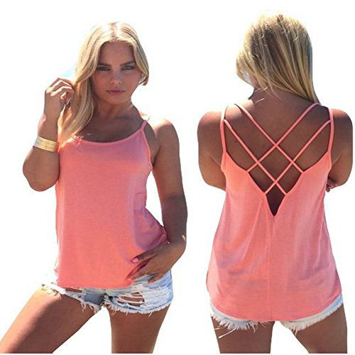 Shirt,Baomabao Women Casual Loose Strap Hollow Out Back Camisole Tank Tops (X--Large, Pink)