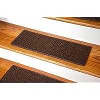 Dean Indoor/Outdoor Pet Friendly Tape Free Non-Slip Carpet Stair Step Treads - Contour Brown 23