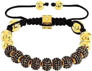 Royal Diamond Black Monaco Shamballa Adjustable Pave Bracelet with Swarovski Crystals (12 STYLES TO CHOOSE FROM) by Royal Diamond