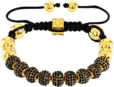 Royal Diamond Monaco Black Crystal Shamballa Adjustable Pave Bracelet with Crystals [Jewellery]
