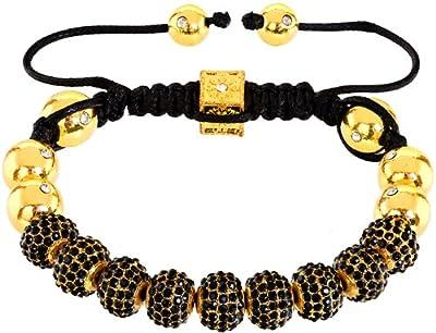 Royal Diamond Monaco Black Crystal Shamballa Adjustable Pave Bracelet with Crystals [Jewellery]