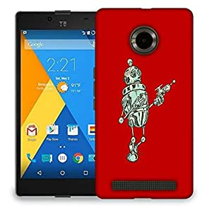 Snoogg Small Robot Designer Protective Back Case Cover For MICROMAX YU YUPHORIA