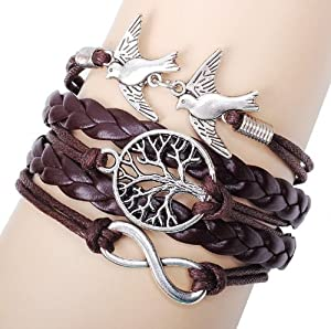 Buyinhouse Stylish Hand-woven Hand-made Antique Life Tree Birds Design Exotic Retro Feeling Ladies Women Men Bracelets with Synthetic Leather Band