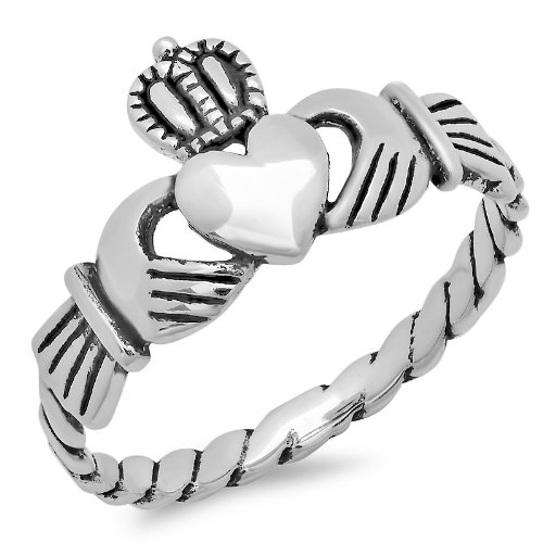 Authentic .925 Sterling Silver Irish Friendship & Love Claddagh Ring Antique Finish Special Limited Time Offer Super Sale Price, Comes With A Free Gift Pouch And Gift Box (7)