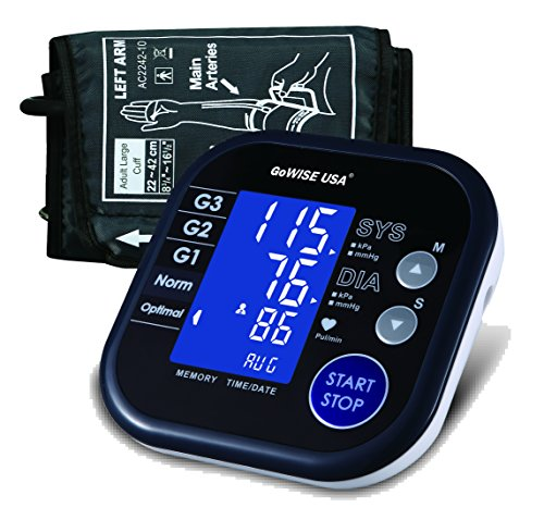 GoWISE USA Digital Blood Pressure Monitor FDA Approved Hypertension Indicator, Large LCD Display & Carry Bag (Digital Blood Pressure Cuff compare prices)