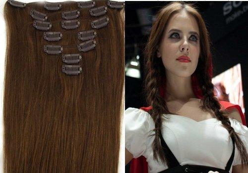 Clip-In-Extensions für komplette Haarverlängerung - hochwertiges Remy-Echthaar - 70g - 38 cm -7tlg- Nr. 6 Mittelbraun