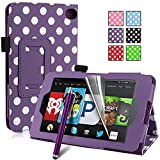 Pasonomi® Amazon Kindle Fire HD 6 Case - Premium Slim PU Leather Folding Cover Case for Amazon Kindle Fire HD 6 Inch 2014 Tablet with Auto Sleep/Wake Feature (Purple Dot)
