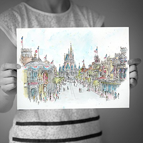 Main Street USA, Walt Disney World, Magic Kingdom. High quality FINE ART & PHOTO prints taken from my original detailed pen drawing & watercolour illustration. Walt Disney World ART (Walt Disney World In Pictures compare prices)
