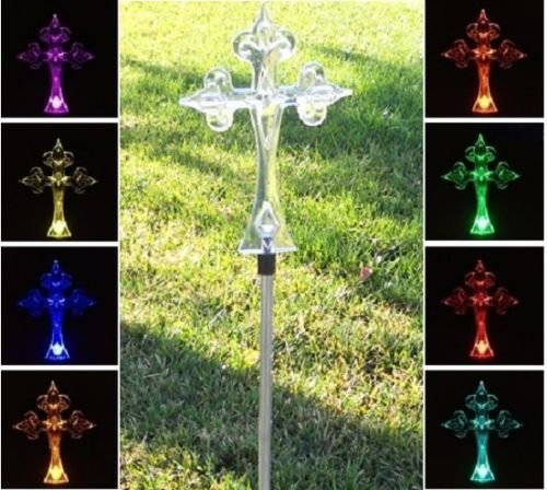Solar Powered Garden Decor Stake Color Changing Yard Led Outdoor Landscape Light (Cross)
