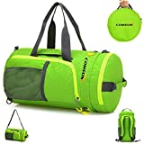 Foldable Duffle bag, Comsun Portable Sport Gym Training Backpack Water Resistant for Outdoor Travel with shoulder Strap Waterproof Oxford Fabric Green