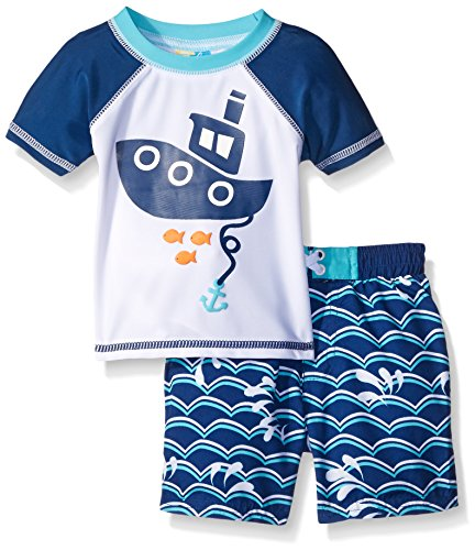 Sol swim baby snorkel time rash guard set blue 18 months for Baby rash guard shirt