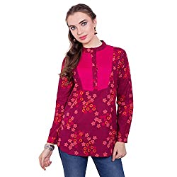 TUNTUK Women's Karishma Tunic Pink Cotton Top