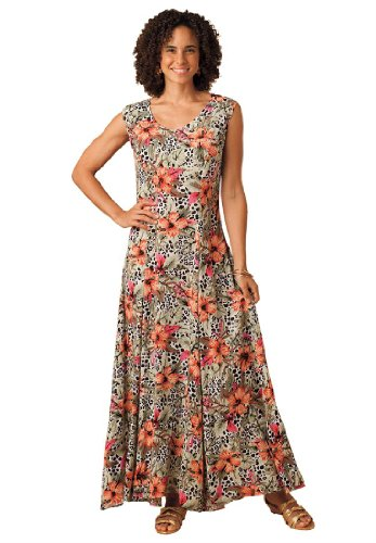 Plus Size Petite Dress In Maxi Length With V-Neck, Crinkle Texture (Animal Print Floral,1X)