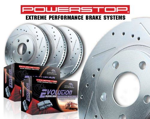 Power Stop K693 Front//Rear Ceramic Brake Pad and Cross Drilled//Slotted Combo Rotor One-Click Brake Kit