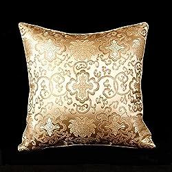 LORENZO CANA - Home Edition - Marken Kissenhülle aus Seidenbrokat Seide Gold Beige Barock Kissenbezug - 96007
