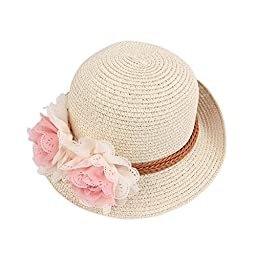 Enjoydeal Summer Fashion Baby Girl Half a Flanging Straw Hat Beach Sun Cap with Two Flowers (Beige)
