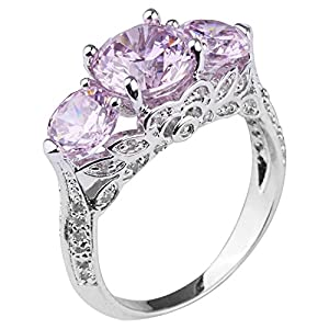 Queenwish Created Pink Sapphire Engagement Rings in Rhodium plated Nickel Finish Jewelry Size 6.5