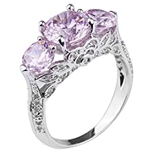 buy Queenwish Created Pink Sapphire Engagement Rings In Sterling Silver Rhodium Nickel Finish Jewelry Size 8.5