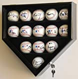 14 Baseball Display Case Cabinet Holder Wall Rack Home Plate Shaped w/98% UV Protection- Lockable