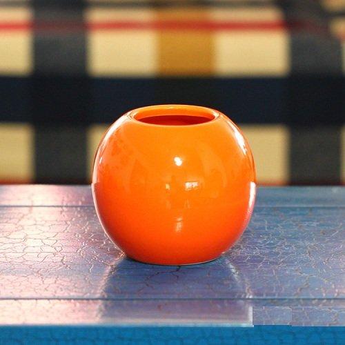 Udtee 1Pcs Beautiful/Cute/Fashion Home/Living Room/Dining Table/Desktop/House Decoration Spherical Porcelain Vase Orange Color
