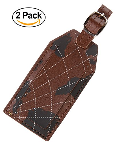 Luggage Tags Leather Personalized Name ID Initial Holder by Pointexa 2 Bag Tags (Luggage Tags Personalized Leather compare prices)