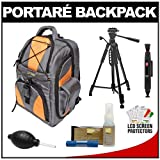 Portare' Multi-Use Laptop/iPad/Digital SLR Camera Backpack Case (Gray/Orange) with 57 Photo/Video Tripod + Cleaning Kit for Nikon D3100, D3200, D5000, D5100, D7000, D700, D800, D4 Digital SLR Cameras