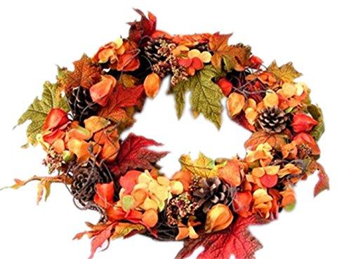 ドア玄関をエレガントに!クリスマスリース 送料無料40cm 秋の飾り物/ 壁掛け おしゃれ クリスマス 飾り クリスマスパーティー オークの葉 松かさとトウ