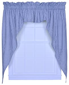 logan gingham check print 102 inch by 63 inch 3 piece lined swag curtain set blue. Black Bedroom Furniture Sets. Home Design Ideas