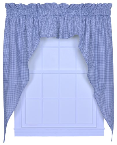 Logan Gingham Check Print 102-Inch by 63-Inch 3-Piece Lined Swag Curtain Set, Blue