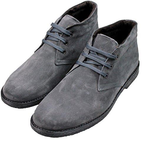 Stivaletti Polacchine uomo scarpe grigio pelle scamosciata casual made in Italy (42)