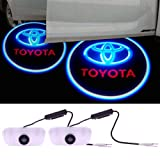 LEMONBEST 2pcs Toyota Car Projection LED Projector Door Shadow Light Welcome Light Laser Logo (TOYOTA)