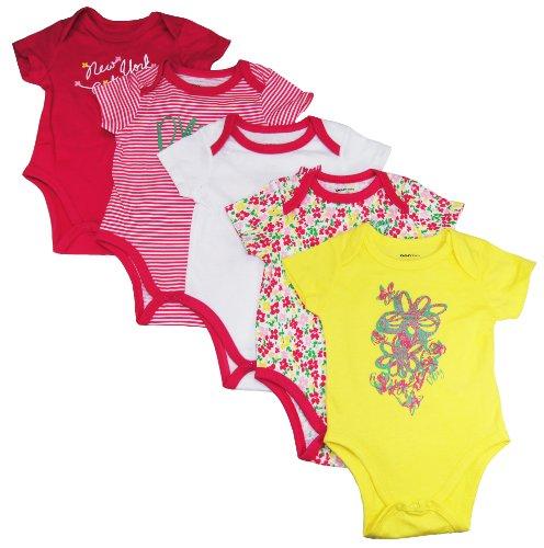 DKNY Baby Girls/Newborn 5pc Short Sleeve Vintage Flower Bodysuits sizes 0-9M