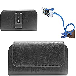 DMG Premium PU Leather Cell Phone Pouch Carrying Case with Belt Clip Holster for Micromax Canvas Sliver 5 Q450 (Black) + Flexible Sturdy Long Stand