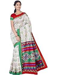Aadarshini Women's Raw Silk Saree (110000000446, Beige & Green)