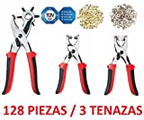 Set 128Pieces Punch 3Pliers for Eyelets Rivets Buttons Automaticos Clothing Footwear Textile Belt