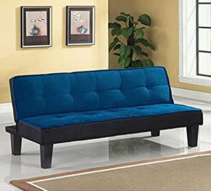 Color Block Futon Adjustable Sofa, Blue