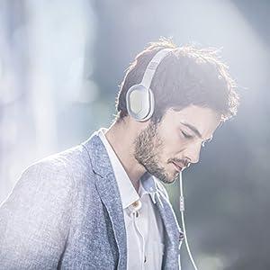 KEF M400 Hi-Fi On-Ear Headphones - Champagne White