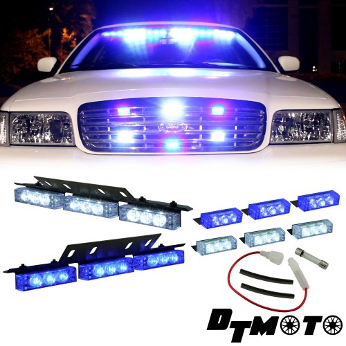 Blue White 18X Led Personal Emergency Vehicle Dash Deck Grill Strobe Warning Light - 1 Set