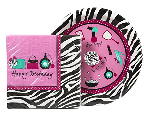 Maven Gifts: Creative Converting Pink Zebra Boutique Happy Birthday Party Supplies Bundle - 16-Count Napkins with 8-Count Dinner Plates (Teal Zebra Party Supplies compare prices)